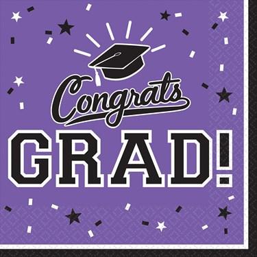 Graduation Lunch Napkins Purple (36 Count)