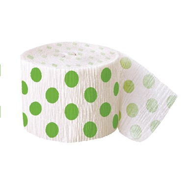 Green and White Dots Crepe Paper