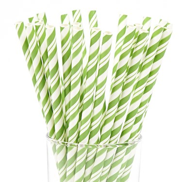 Green and White Striped Paper Straws (48)