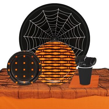 Halloween Black & Orange 32 Guest Tableware Kit