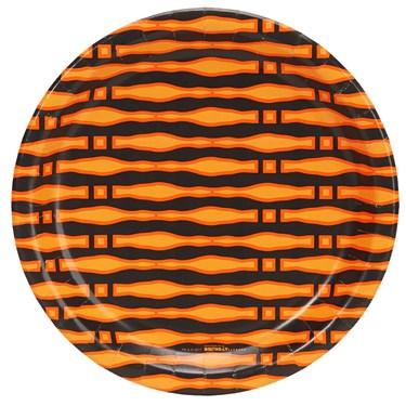 Halloween Black and Orange Print Dinner Plate (8)