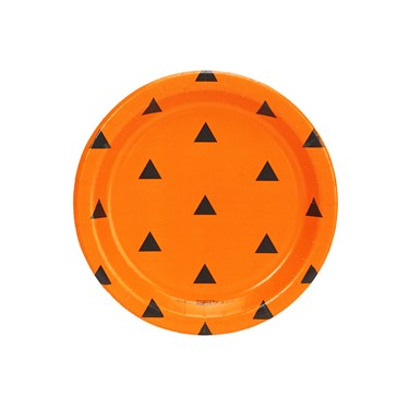 Halloween Black and Orange Triangle Dot Dessert Plate (8)