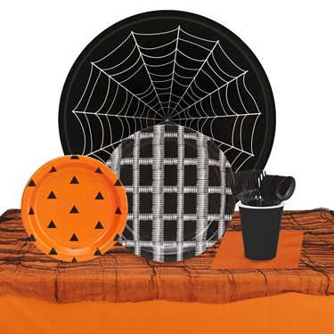 Halloween Black, Orange & White 32 Guest Tableware Kit
