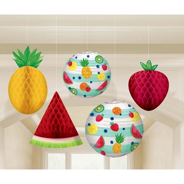 Hello Summer Honeycomb Hanging Fruit & Paper Lanterns
