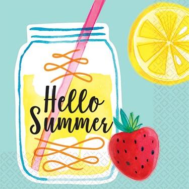 Hello Summer Lemonade Beverage Napkin