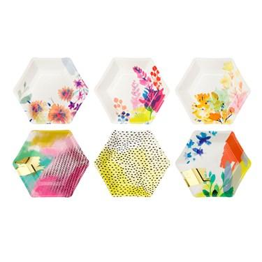 "Hexagonal Plates 6 Designs, 8"", 12Pk"