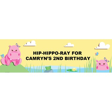 Hippo Pink Personalized Vinyl Banner