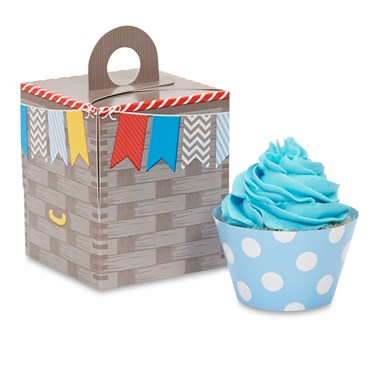 Hot Air Balloon Party Cupcake Wrapper & Box Kit