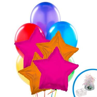 Hot Pink & Orange Star Balloon Bouquet