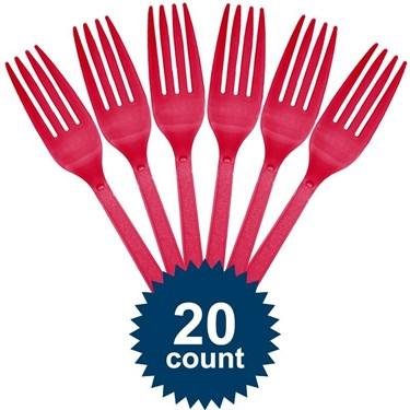 Hot Pink Plastic Forks