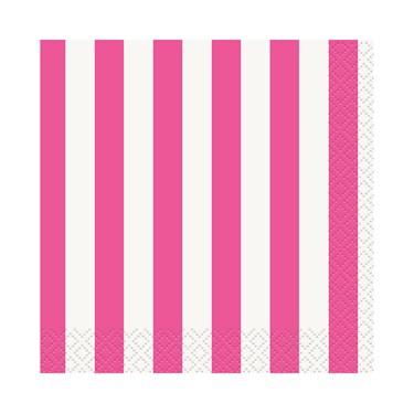 Hot Pink Stripe Beverage Napkins