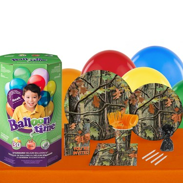 Hunting Camo 16 Guest Kit with Tableware and Helium Kit