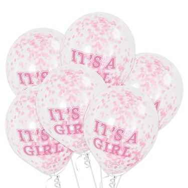It's A Girl Clear Latex Birthday Balloon