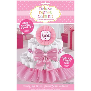 It's a Girl Pink Baby Shower Diaper Cake Decorating Kit