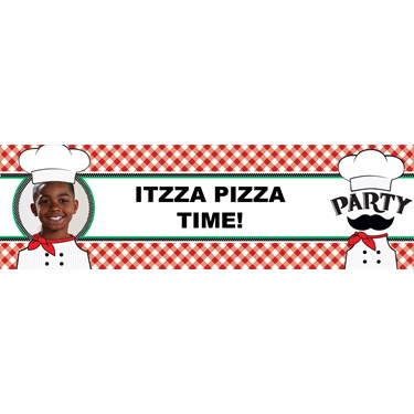 Itzza Pizza Party Personalized Photo Vinyl Banner