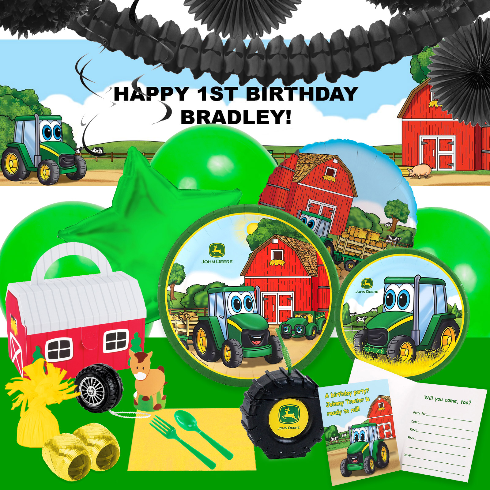 Alt. Image (1) - John Deere Johnny Tractor Party in a Box For 16