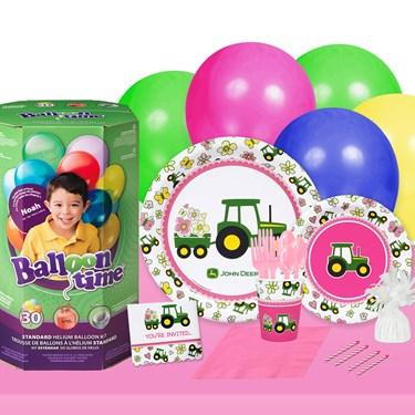John Deere Pink 16 Guest Party Pack + Helium Tank
