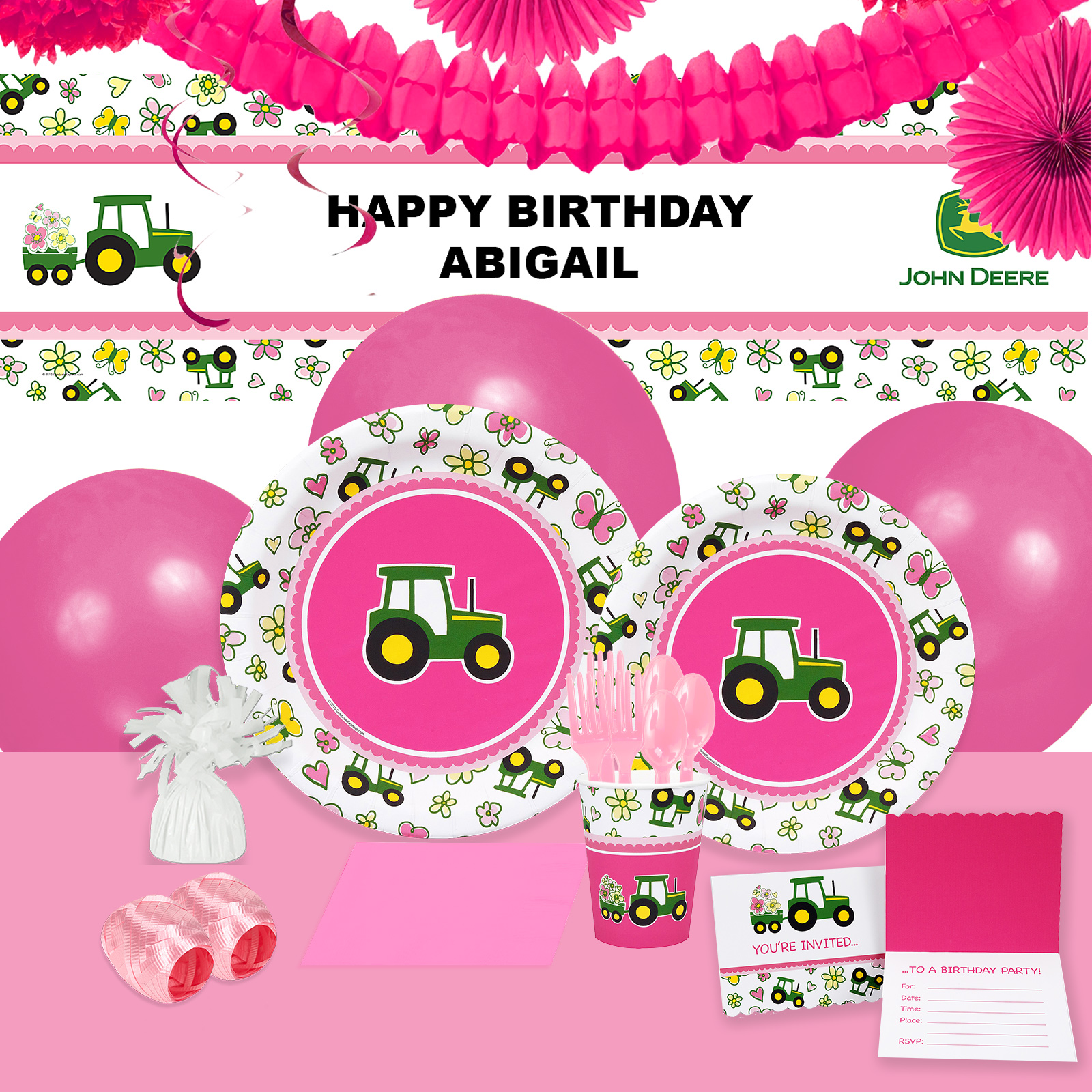 Default Image - John Deere Pink Party in a Box For 16