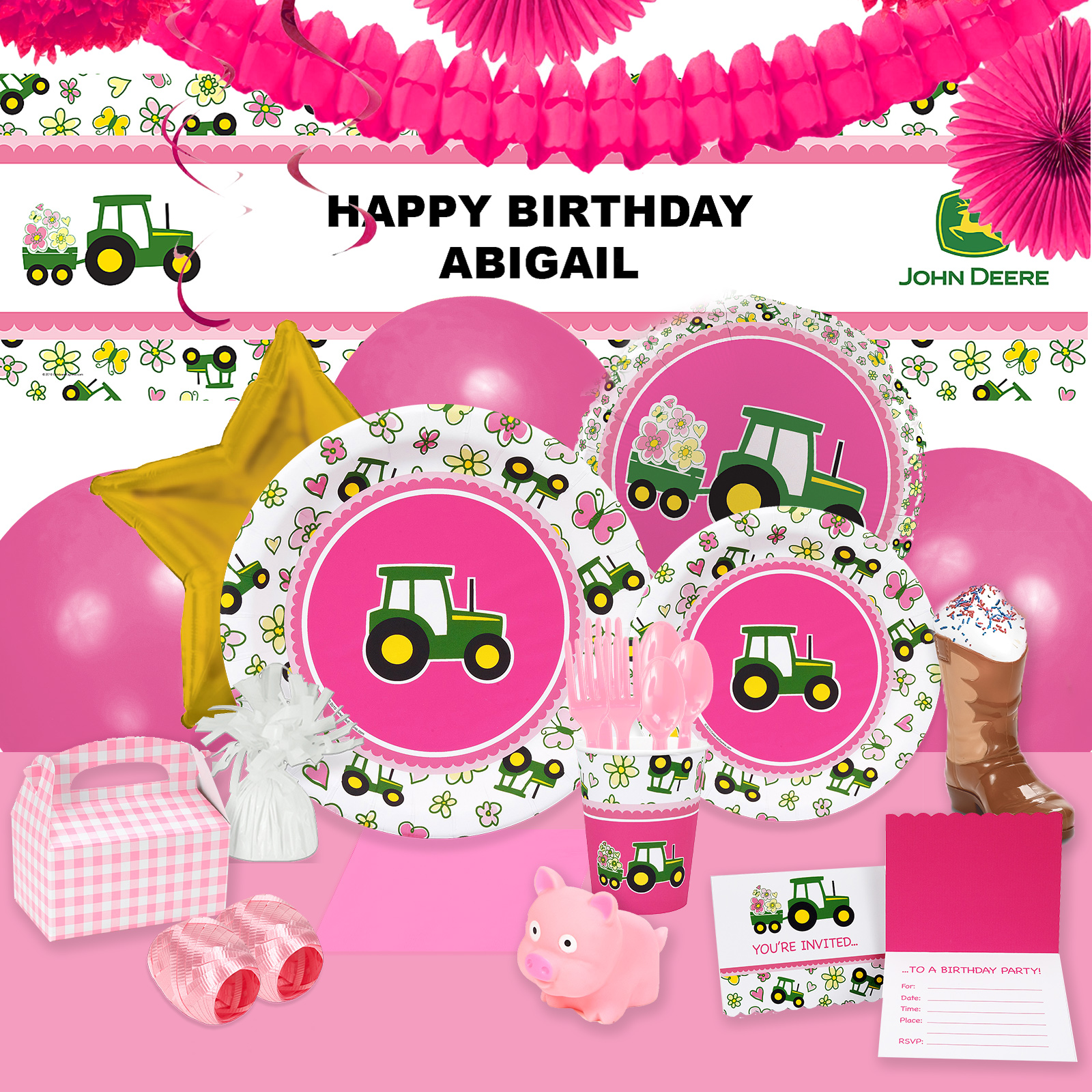 Alt. Image (1) - John Deere Pink Party in a Box For 16