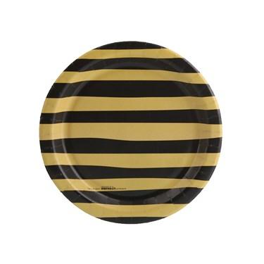 Joy to the World Gold & Black Stripe Dessert Plate (8)