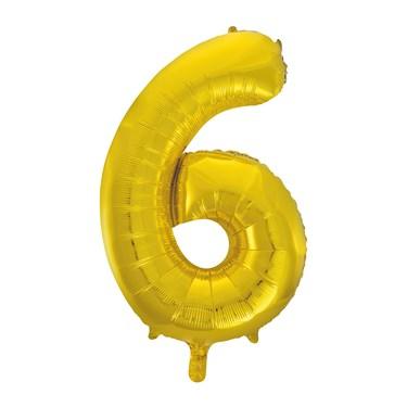 Jumbo Gold Foil Balloon-Number 6