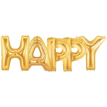 Jumbo Gold Foil Balloons-HAPPY