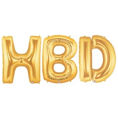 Jumbo Gold Foil Balloons-HBD