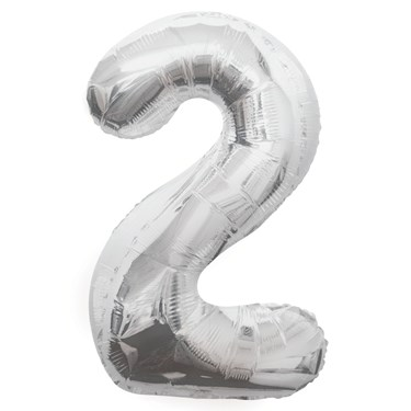 Jumbo Silver Foil Balloon-Number 2
