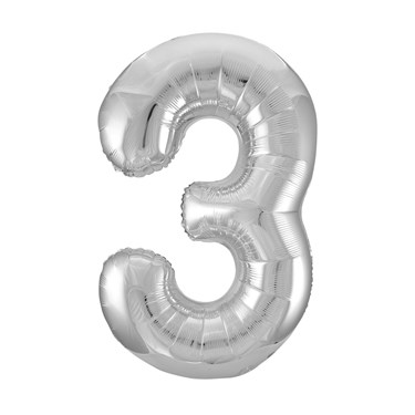 Jumbo Silver Foil Balloon-Number 3