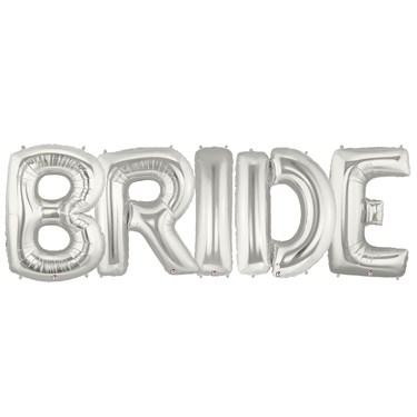 Jumbo Silver Foil Balloons-BRIDE