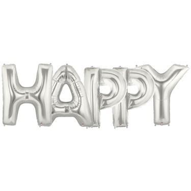 Jumbo Silver Foil Balloons-HAPPY