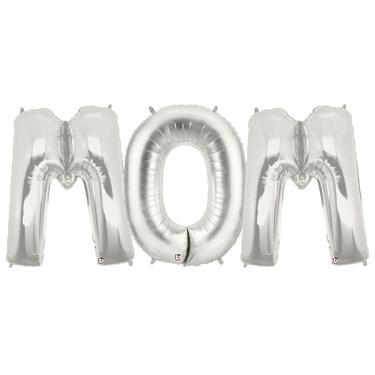 Jumbo Silver Foil Balloons-MOM