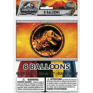 "Jurassic World 2 12"" Latex Balloons (8)"