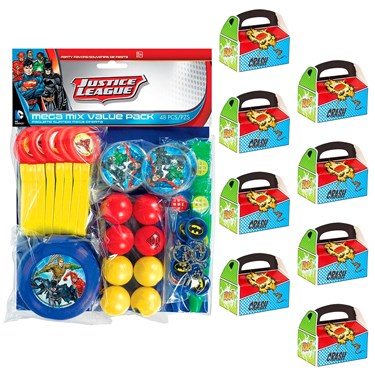 Justice League Filled Favor Box Kit  (For 8 Guests)
