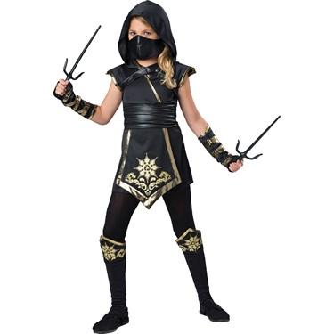 Kids Gold Ninja Girl Costume