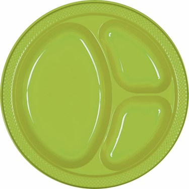 Kiwi Plastic Divided Banquet Dinner Plates