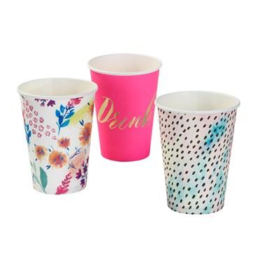 Large Paper Cup 120Z 3 Designs 12Pk