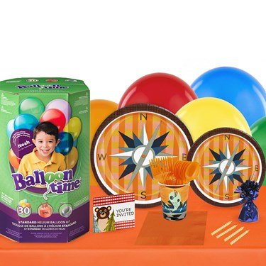 Let's Go Camping 16 Guest Kit with Tableware and Helium Kit