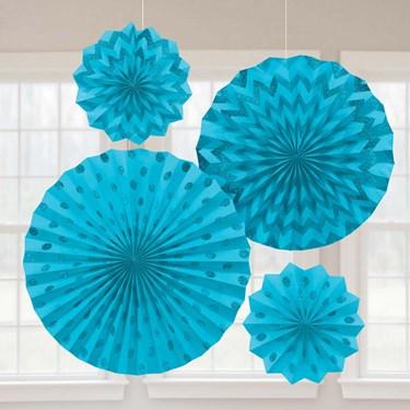 Light Blue Glitter Paper Fan Decorations (4 Pack)