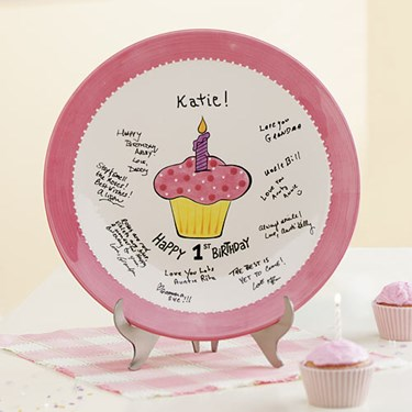 Lil' Cupcake 1st Birthday Signature Plate - Pink