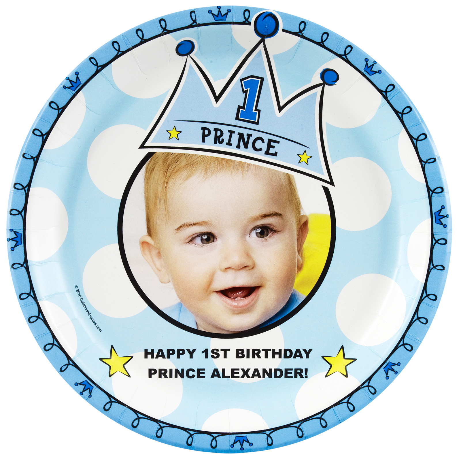 Lil Prince 1st Birthday Personalized Dinner Plates – Prince 1st Birthday Invitations