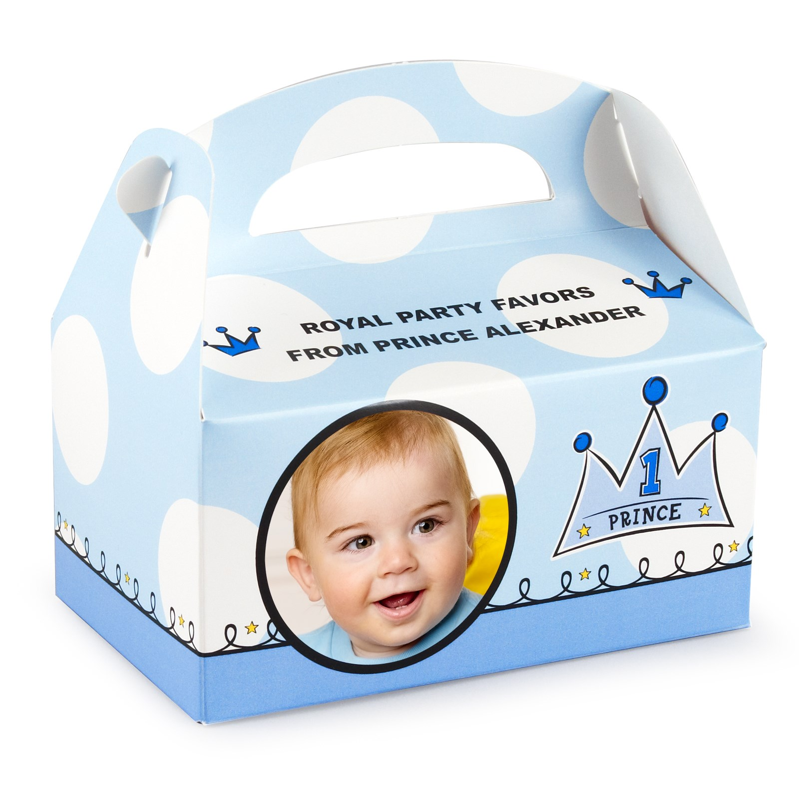 Personalized 1st Birthday Favor Boxes : Lil prince st birthday personalized empty favor boxes
