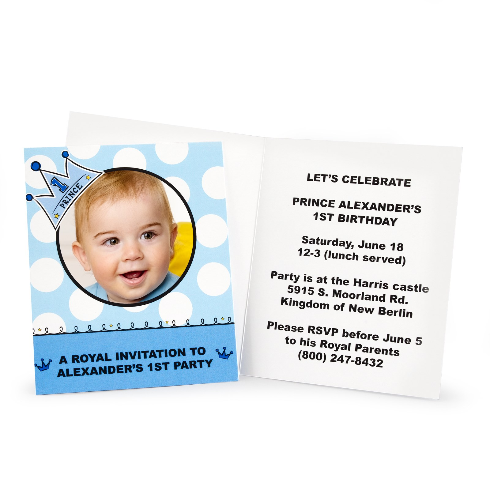 Lil\' Prince 1st Birthday Personalized Invitations | BirthdayExpress.com