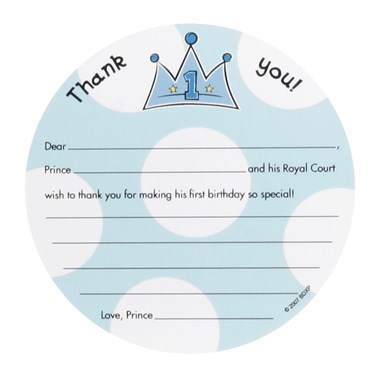 Lil' Prince 1st Birthday Thank-You Notes