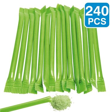 Lime Candy Filled 6 Straws (240 Pack)