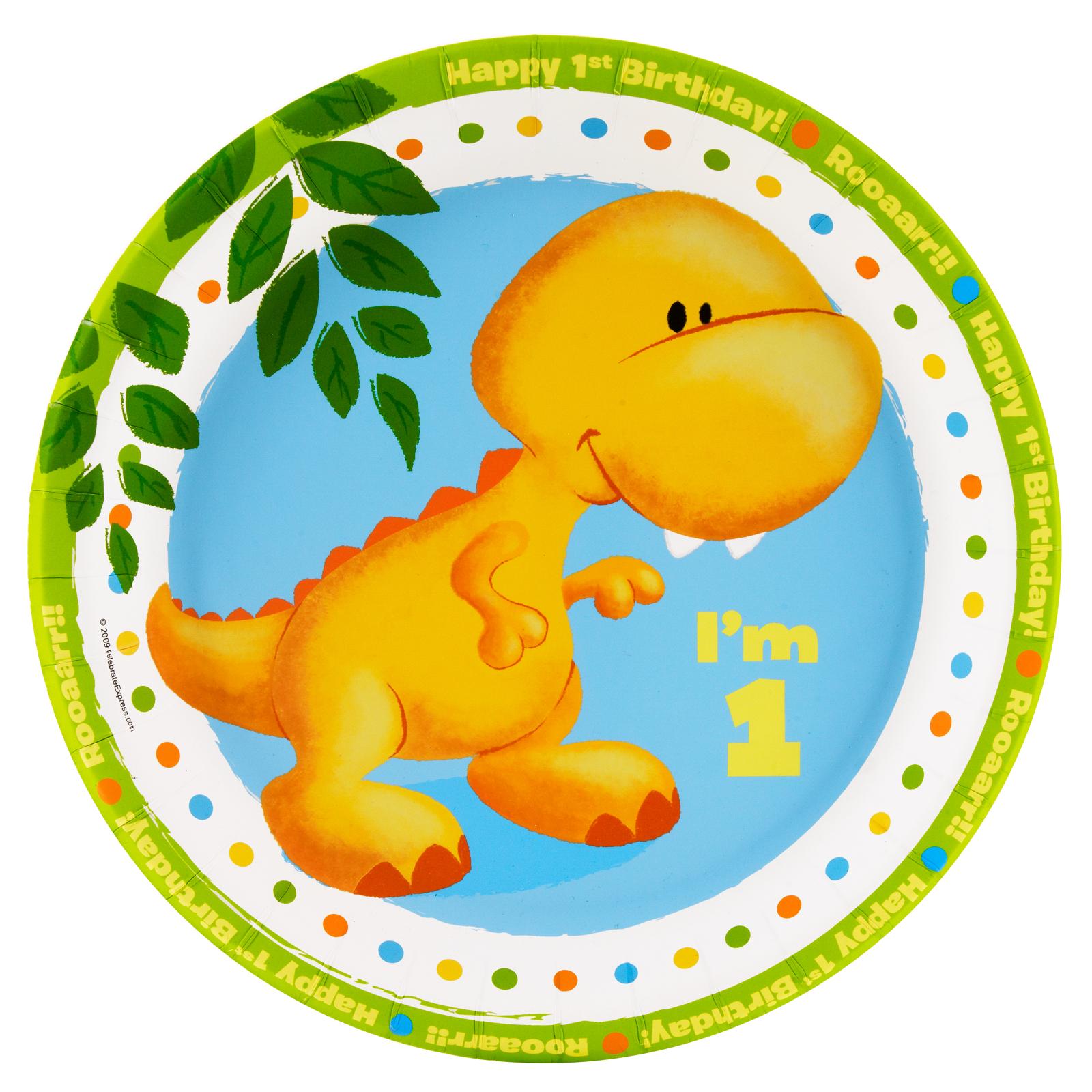 Little Dino 1st Birthday Dinner Plates BirthdayExpresscom