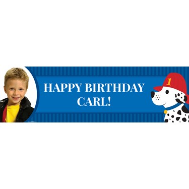 Little Fireman Personalized Photo Vinyl Banner