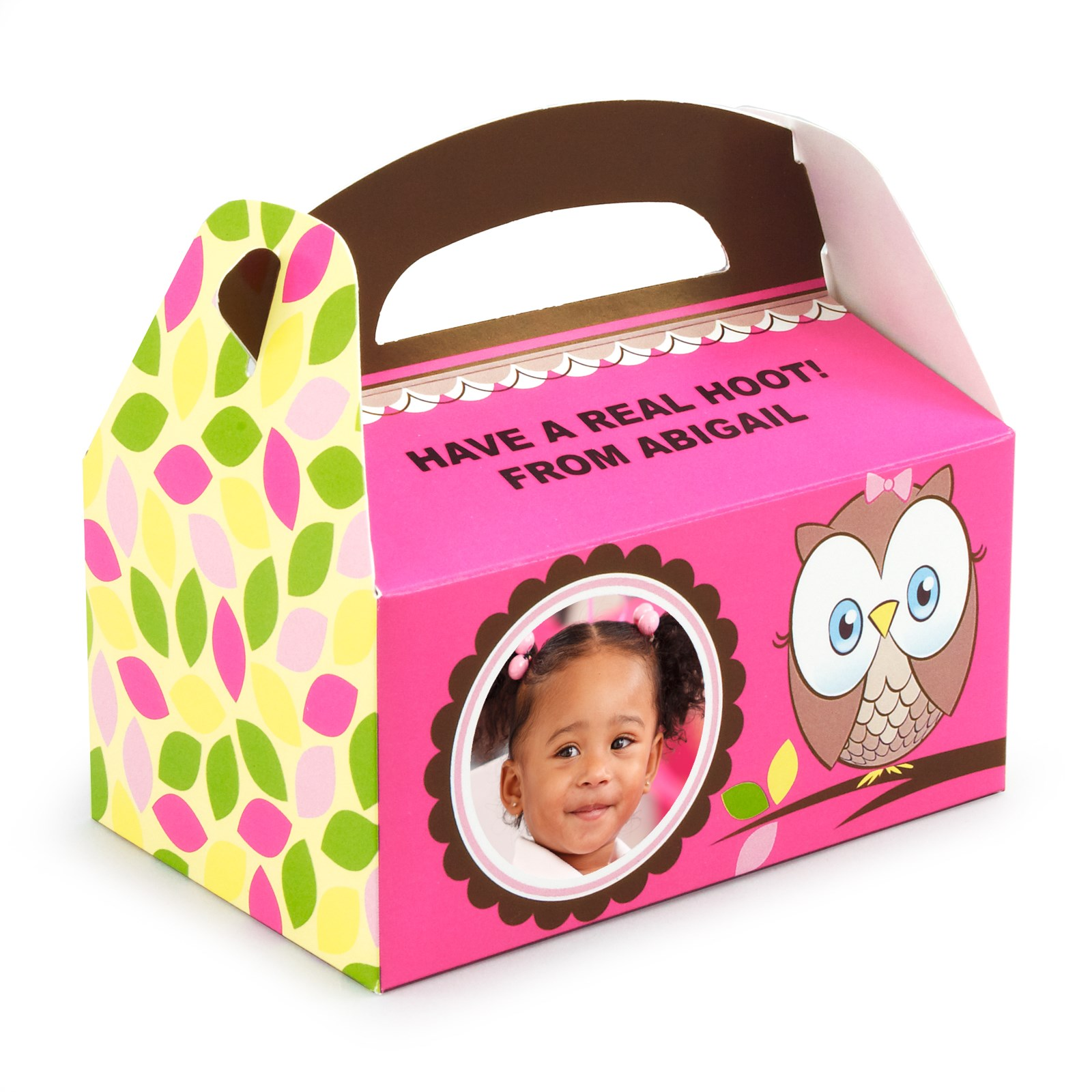 Personalized Party Favor Boxes Birthday : Look whoo s pink personalized empty favor boxes