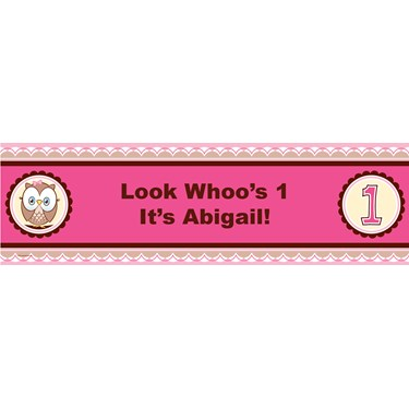 Look Whoo's 1 - Pink Personalized Vinyl Banner