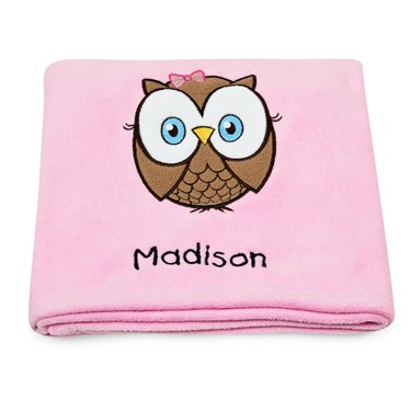 Look Who's 1 Pink Applique Fleece Blanket - Embroidered